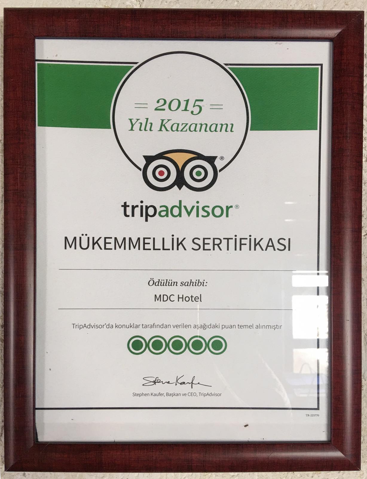 Tripadvisor Mükemmellik Sertifikası 2015