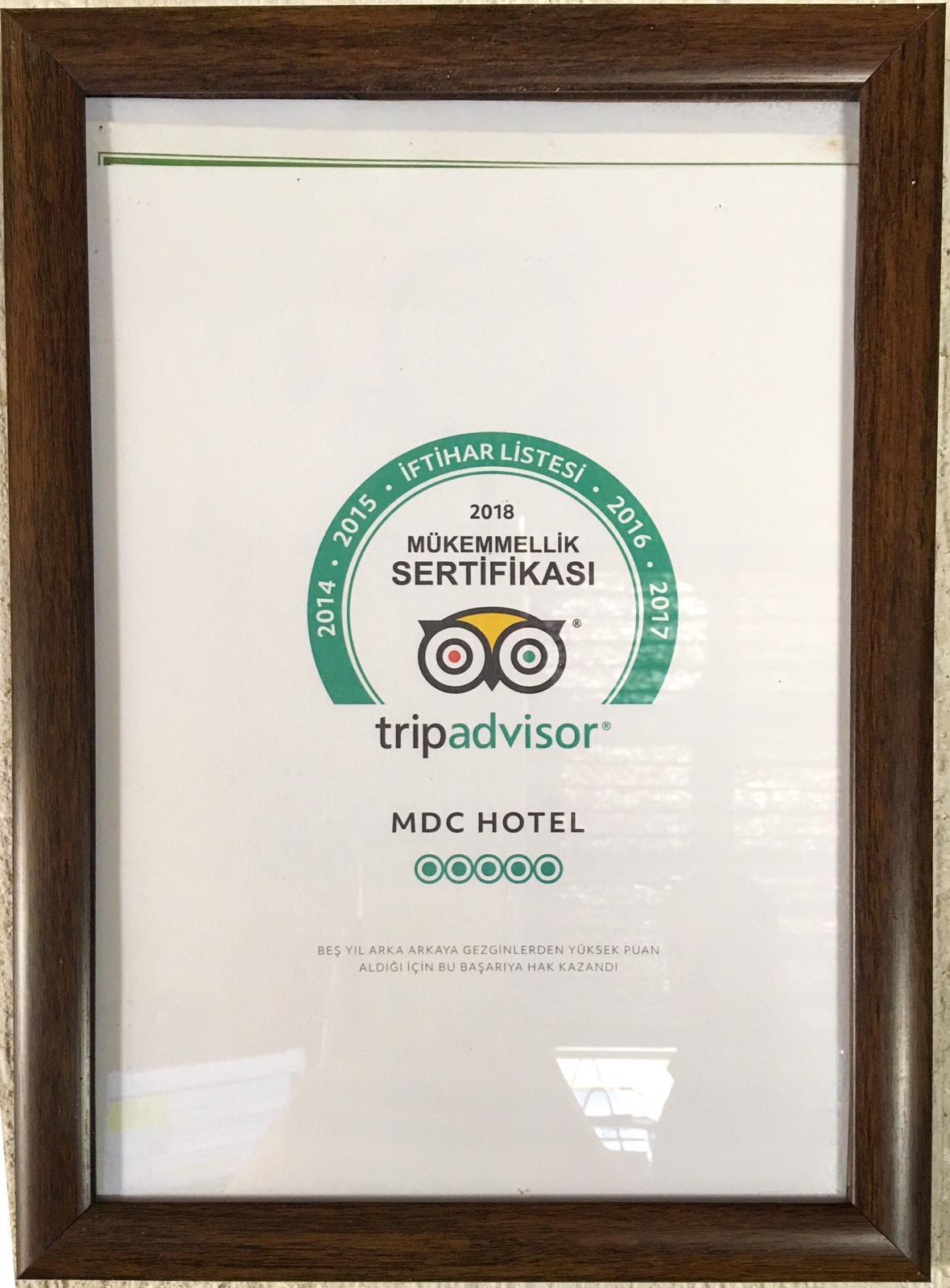 Tripadvisor Mükemmellik Sertifikası 2018