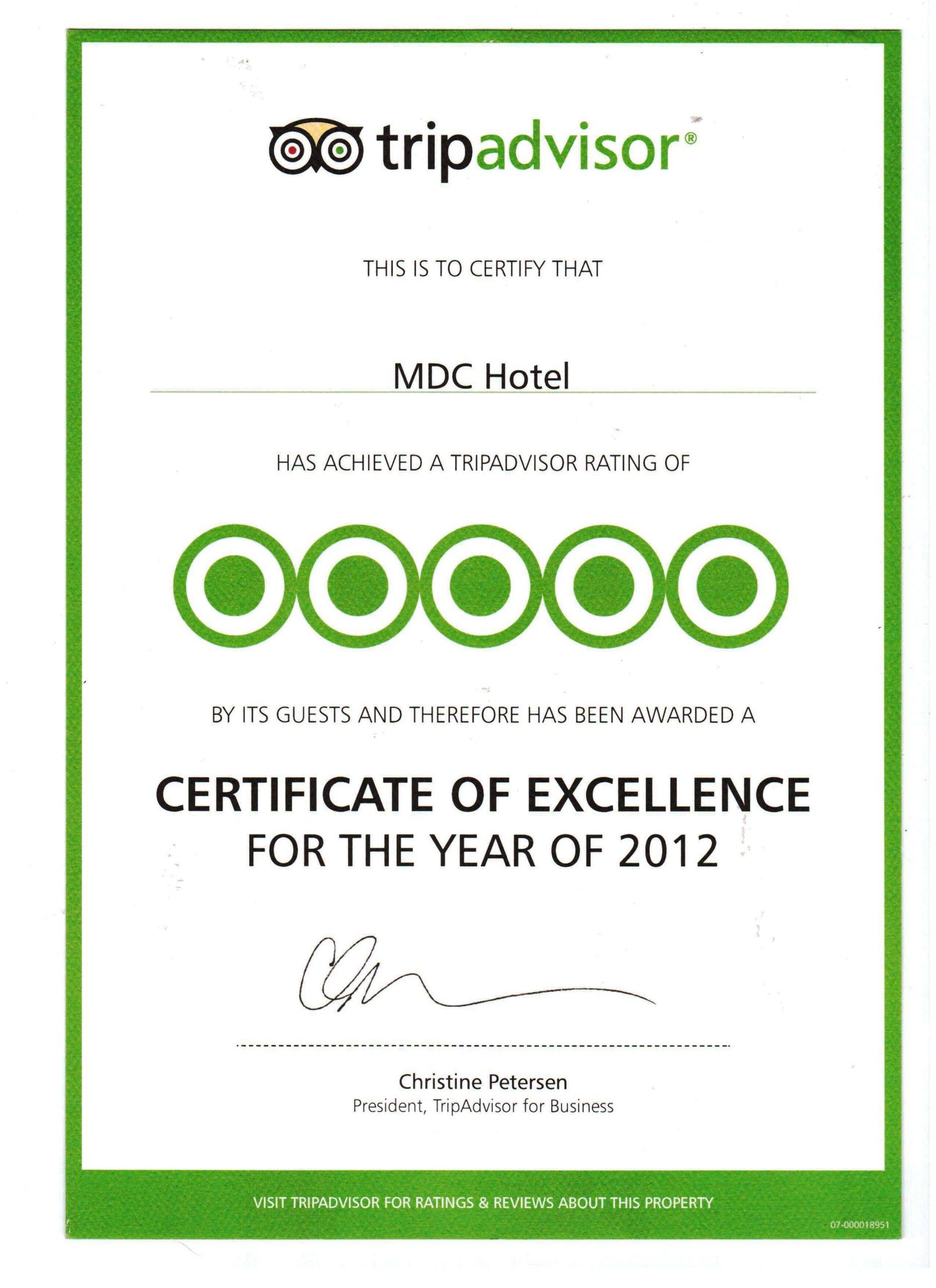 Tripadvisor Mükemmellik Sertifikası 2012
